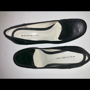 Bandolino black leather loafer heels 8.5m